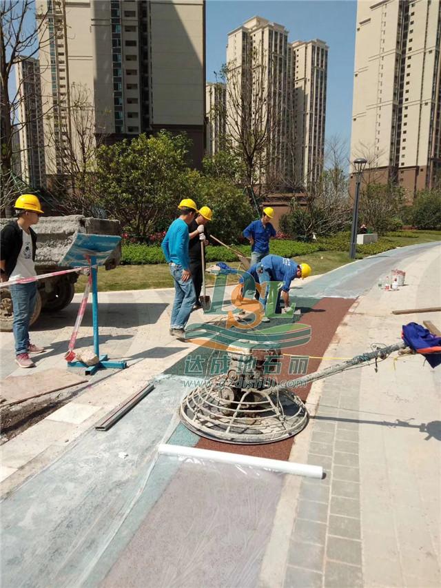 河源雅居乐花园彩色透水混凝土施工案例
