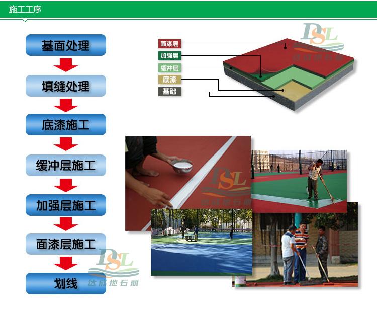 硅pu运动场地坪材料施工方法